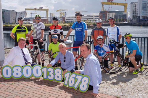 NI Grain Trade Association members ready for the off in the  Grain & Feed Tour Charity Bike Ride 2018. All funds raised in Northern Ireland will go to assist with the work of Rural Support NI. Pictured front from left: Michael McAree, President, NIGTA; Robin Irvine, CEO, NIGTA and Jude McCann, Rural Support NI. The cyclists who took part in the local leg of the charity bike ride are back from left: Vincent Shannon, Ed Brown, Niall O Donnell, Nicky Lamb, Gavin McDonald and Peter Davidson. Middle row: Stuart Purvis, Brian Conway and Ben Frazer. The Rural Support Helpline is 0800 138 1678. Photograph: Columba O'Hare/ Newry.ie