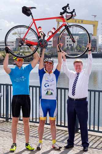 A Titanic cycle - Michael McAree, right, President, NI Grain Trade Association with NIGTA members, Ben Frazer and Peter Davidson who cycled in the local leg of the Grain & Feed Tour Charity Bike Ride 2018. All funds raised in Northern Ireland will go to assist with the work of Rural Support NI. Photograph: Columba O'Hare/ Newry.ie