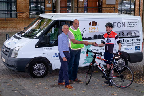 Getting ready for the off in the NI stage of the Grain & Feed Tour Charity Bike Ride 2018. All funds raised in Northern Ireland will go to assist with the work of Rural Support NI. Included from left are Robin Irvine, CEO, NIGTA; Richard Cooksley, organiser and NIGTA member, Niall O'Donnell, one of the participants. Photograph: Columba O'Hare/ Newry.ie