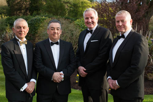 Speakers at the NI Grain Trade Association Annual Dinner. From left: Robin Irvine, Chief Executive, NIGTA; David O'Connor, President, NIGTA; Brent Pope and Paul Sloan. Photograph: Columba O'Hare