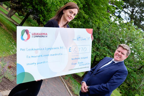 The Northern Ireland Grain Trade Association have raised £6,770 for Leukaemia and Lymphoma NI. The sum was raised by members and their guests at the NIGTA 53rd Annual Dinner. NIGTA President Michael McAree was delighted to hand over the cheque to Joanne Badger, Leukaemia and Lymphoma NI.  The charity was selected by the president as his chosen charity for the occasion. Photograph: Columba O'Hare/ Newry.ie