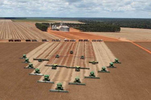 The soya harvest is well under way in Brazil​ as evidenced by these combines​