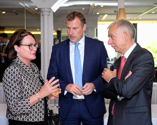 Colette FitzGerald, head of EU Office in Belfast was Guest Speaker at the NIGTA quarterly meeting and is pictured chatting to NIGTA President,  Keith Agnew and Chief Executive, Robin Irvine, right. Photograph: Columba O'Hare